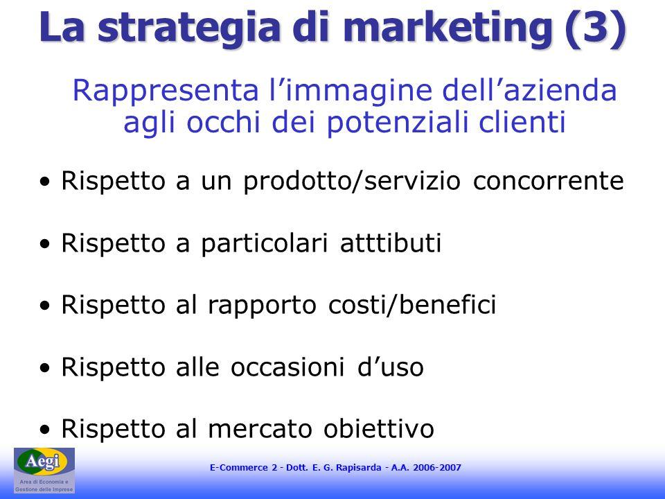 E-Commerce 2 - Dott. E. G. Rapisarda - A.A. 2006-2007 La strategia di marketing (3) Rappresenta limmagine dellazienda agli occhi dei potenziali client