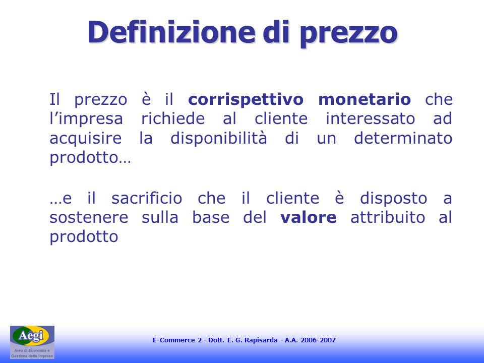 E-Commerce 2 - Dott. E. G. Rapisarda - A.A. 2006-2007 Definizione di prezzo Il prezzo è il corrispettivo monetario che limpresa richiede al cliente in