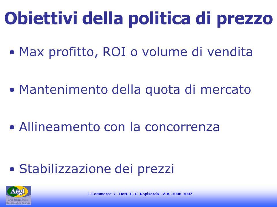 E-Commerce 2 - Dott. E. G. Rapisarda - A.A. 2006-2007 Obiettivi della politica di prezzo Max profitto, ROI o volume di vendita Mantenimento della quot