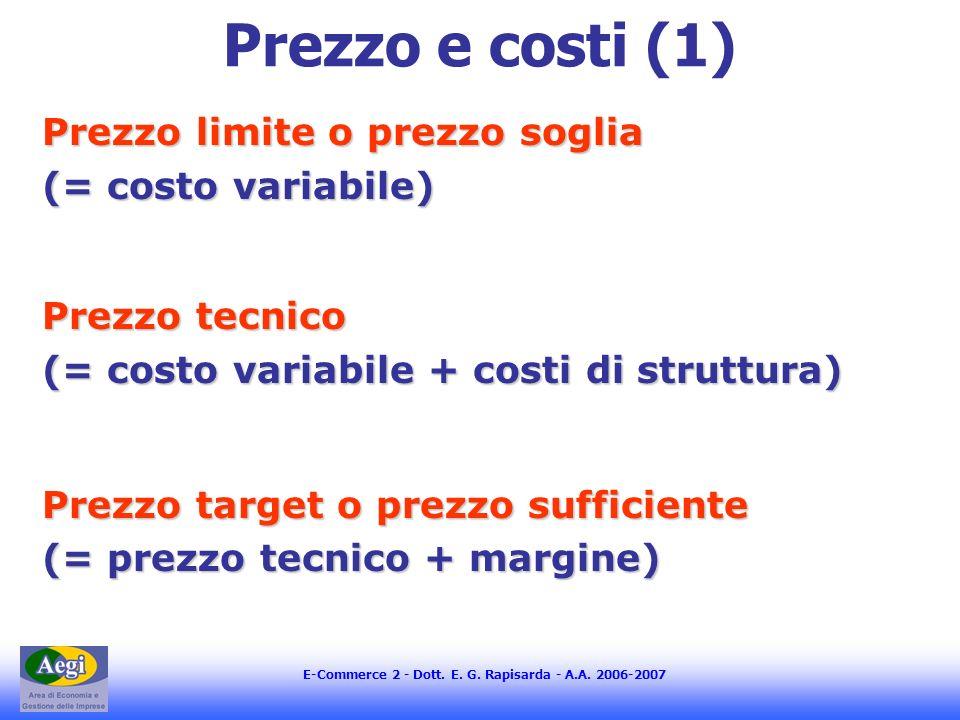 E-Commerce 2 - Dott. E. G. Rapisarda - A.A. 2006-2007 Prezzo e costi (1) Prezzo limite o prezzo soglia (= costo variabile) Prezzo tecnico (= costo var