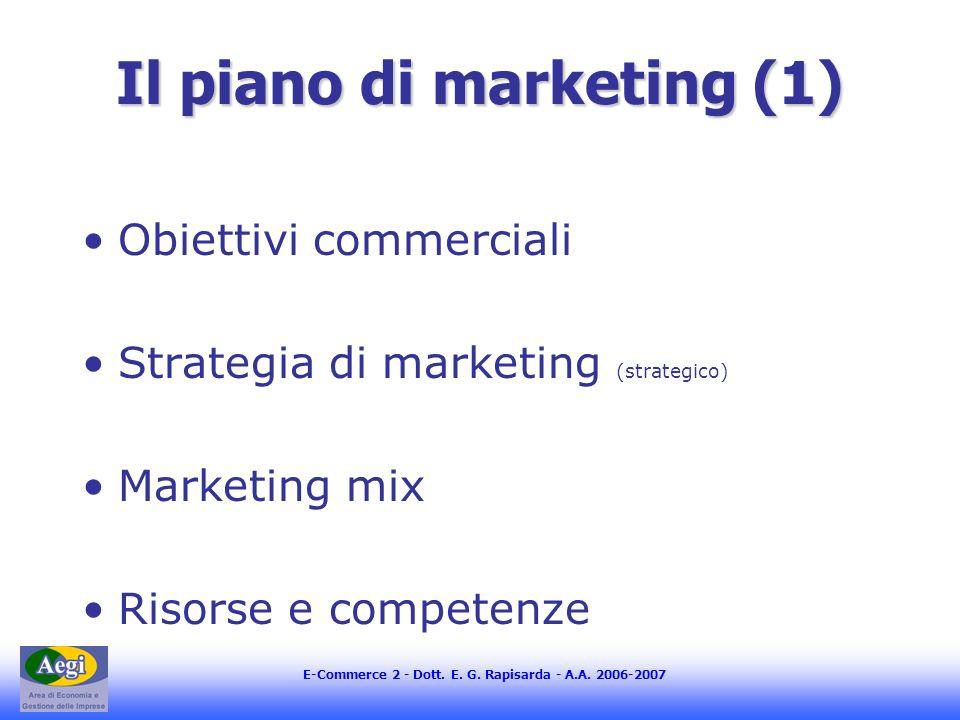 E-Commerce 2 - Dott. E. G. Rapisarda - A.A. 2006-2007 Il piano di marketing (1) Obiettivi commerciali Strategia di marketing (strategico) Marketing mi