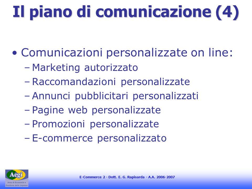 E-Commerce 2 - Dott. E. G. Rapisarda - A.A. 2006-2007 Il piano di comunicazione (4) Comunicazioni personalizzate on line: –Marketing autorizzato –Racc
