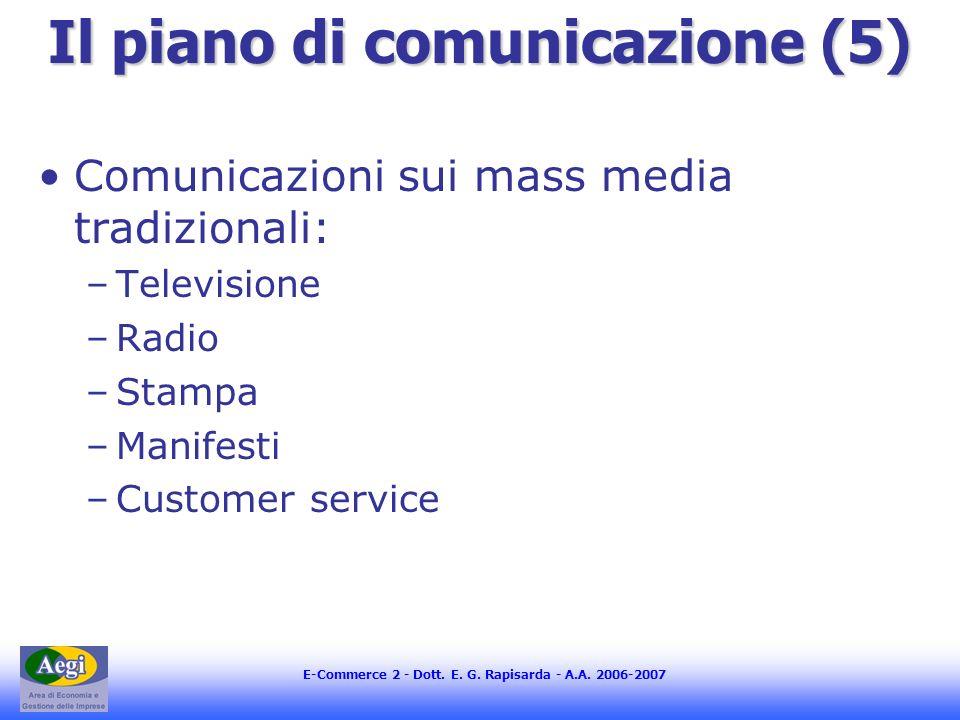 E-Commerce 2 - Dott. E. G. Rapisarda - A.A. 2006-2007 Il piano di comunicazione (5) Comunicazioni sui mass media tradizionali: –Televisione –Radio –St