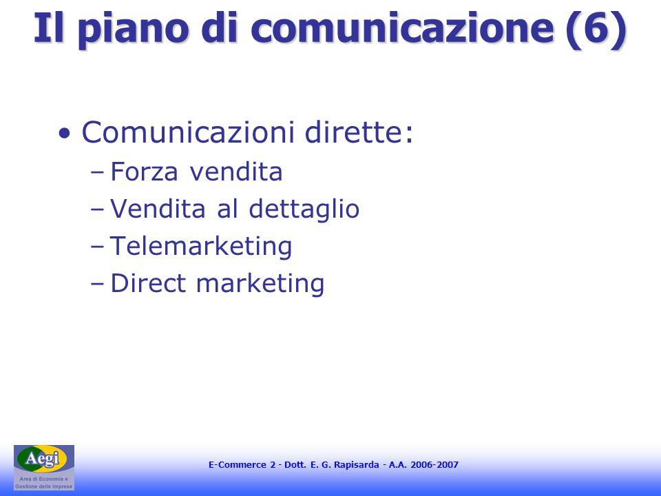 E-Commerce 2 - Dott. E. G. Rapisarda - A.A. 2006-2007 Il piano di comunicazione (6) Comunicazioni dirette: –Forza vendita –Vendita al dettaglio –Telem
