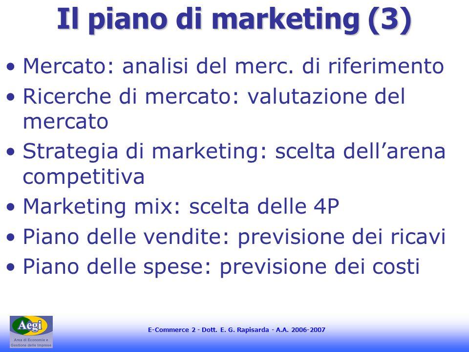 E-Commerce 2 - Dott. E. G. Rapisarda - A.A. 2006-2007 Il piano di marketing (3) Mercato: analisi del merc. di riferimento Ricerche di mercato: valutaz