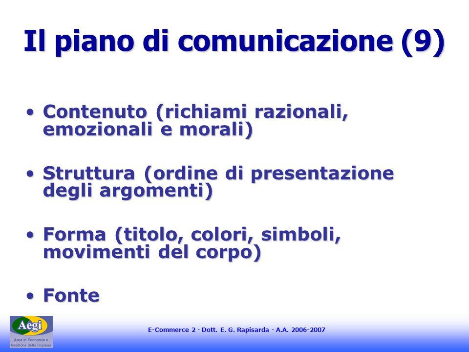 E-Commerce 2 - Dott. E. G. Rapisarda - A.A. 2006-2007 Il piano di comunicazione (9) Contenuto (richiami razionali, emozionali e morali)Contenuto (rich