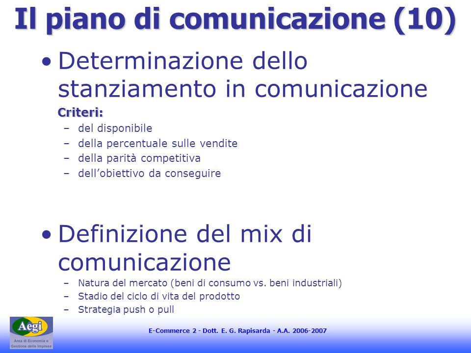 E-Commerce 2 - Dott. E. G. Rapisarda - A.A. 2006-2007 Il piano di comunicazione (10) Determinazione dello stanziamento in comunicazioneCriteri: –del d