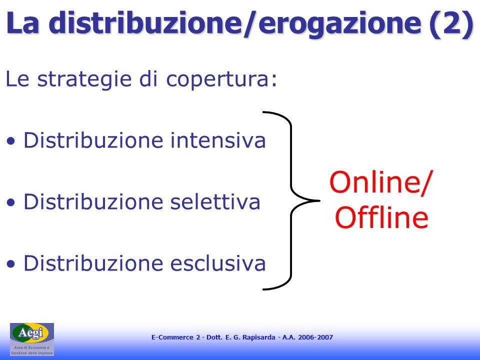 E-Commerce 2 - Dott. E. G. Rapisarda - A.A. 2006-2007 La distribuzione/erogazione (2) Le strategie di copertura: Distribuzione intensiva Distribuzione