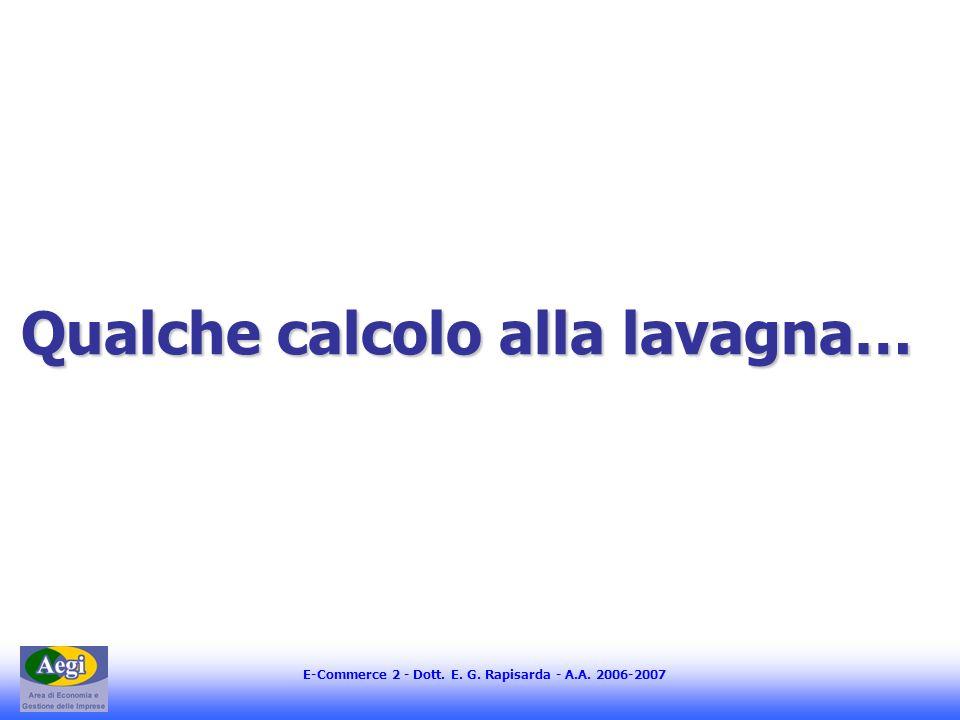 E-Commerce 2 - Dott. E. G. Rapisarda - A.A. 2006-2007 Qualche calcolo alla lavagna…
