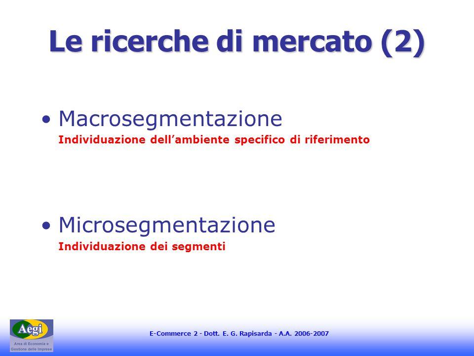 E-Commerce 2 - Dott. E. G. Rapisarda - A.A. 2006-2007 Le ricerche di mercato (2) Macrosegmentazione Individuazione dellambiente specifico di riferimen