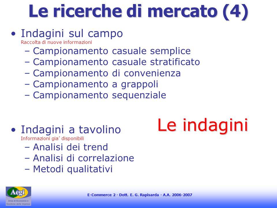 E-Commerce 2 - Dott. E. G. Rapisarda - A.A. 2006-2007 Le ricerche di mercato (4) Indagini sul campo Raccolta di nuove informazioni –Campionamento casu