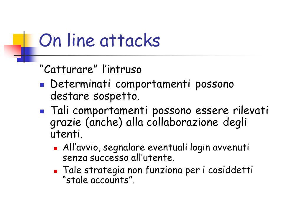 On line attacks Catturare lintruso Determinati comportamenti possono destare sospetto. Tali comportamenti possono essere rilevati grazie (anche) alla