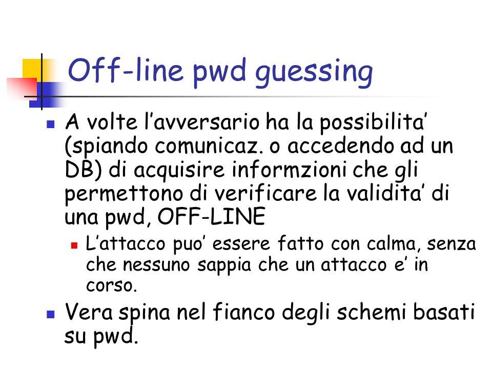 Off-line pwd guessing A volte lavversario ha la possibilita (spiando comunicaz.