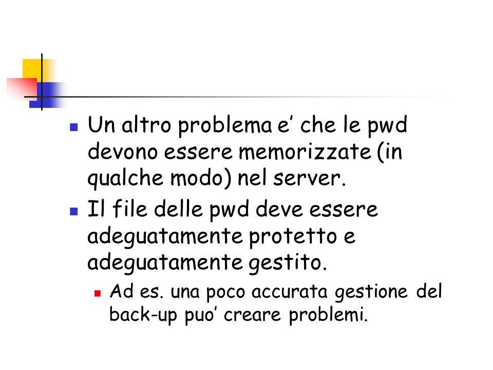 Un altro problema e che le pwd devono essere memorizzate (in qualche modo) nel server.