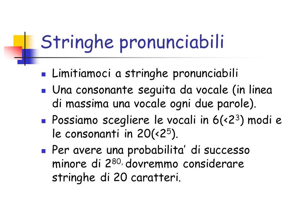 Stringhe pronunciabili Limitiamoci a stringhe pronunciabili Una consonante seguita da vocale (in linea di massima una vocale ogni due parole).