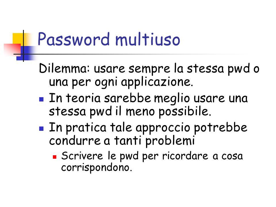Password multiuso Dilemma: usare sempre la stessa pwd o una per ogni applicazione.