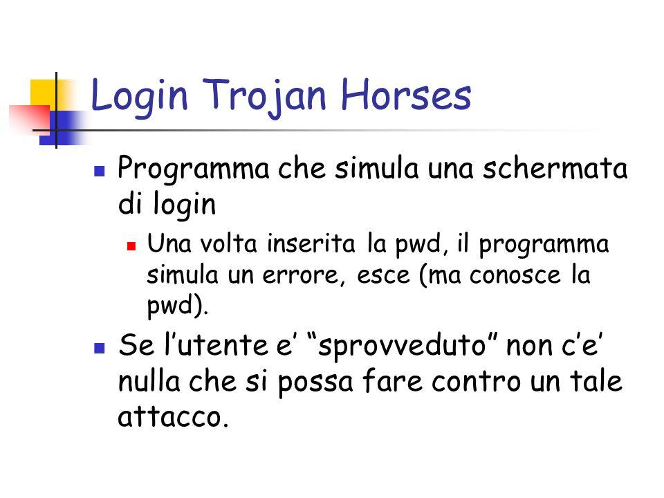 Login Trojan Horses Programma che simula una schermata di login Una volta inserita la pwd, il programma simula un errore, esce (ma conosce la pwd).
