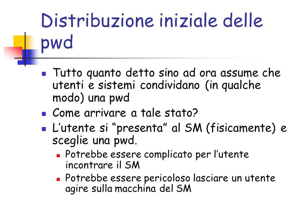 Distribuzione iniziale delle pwd Tutto quanto detto sino ad ora assume che utenti e sistemi condividano (in qualche modo) una pwd Come arrivare a tale stato.