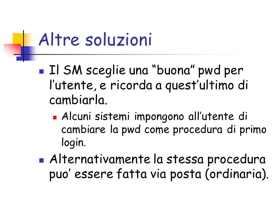 Altre soluzioni Il SM sceglie una buona pwd per lutente, e ricorda a questultimo di cambiarla.