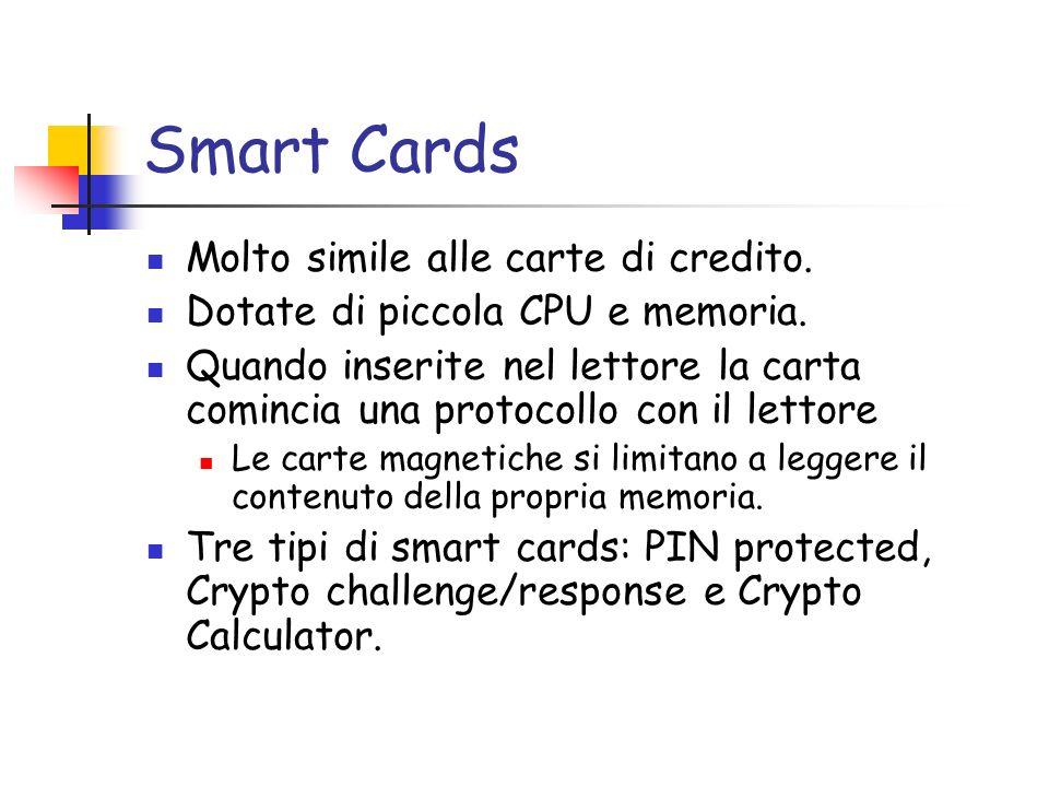 Smart Cards Molto simile alle carte di credito. Dotate di piccola CPU e memoria.