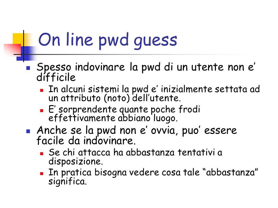 On line pwd guess Spesso indovinare la pwd di un utente non e difficile In alcuni sistemi la pwd e inizialmente settata ad un attributo (noto) dellutente.