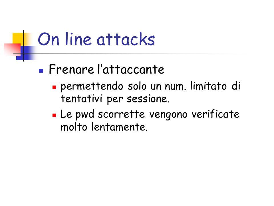 On line attacks Frenare lattaccante permettendo solo un num. limitato di tentativi per sessione. Le pwd scorrette vengono verificate molto lentamente.