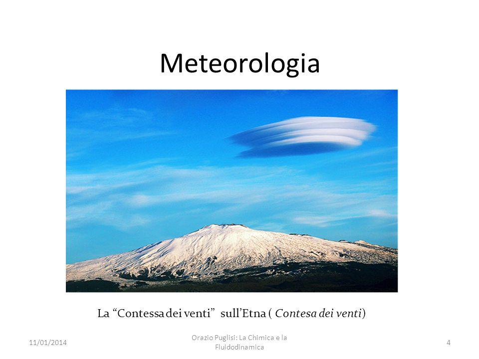 Meteorologia La Contessa dei venti sullEtna ( Contesa dei venti) 11/01/20144 Orazio Puglisi: La Chimica e la Fluidodinamica