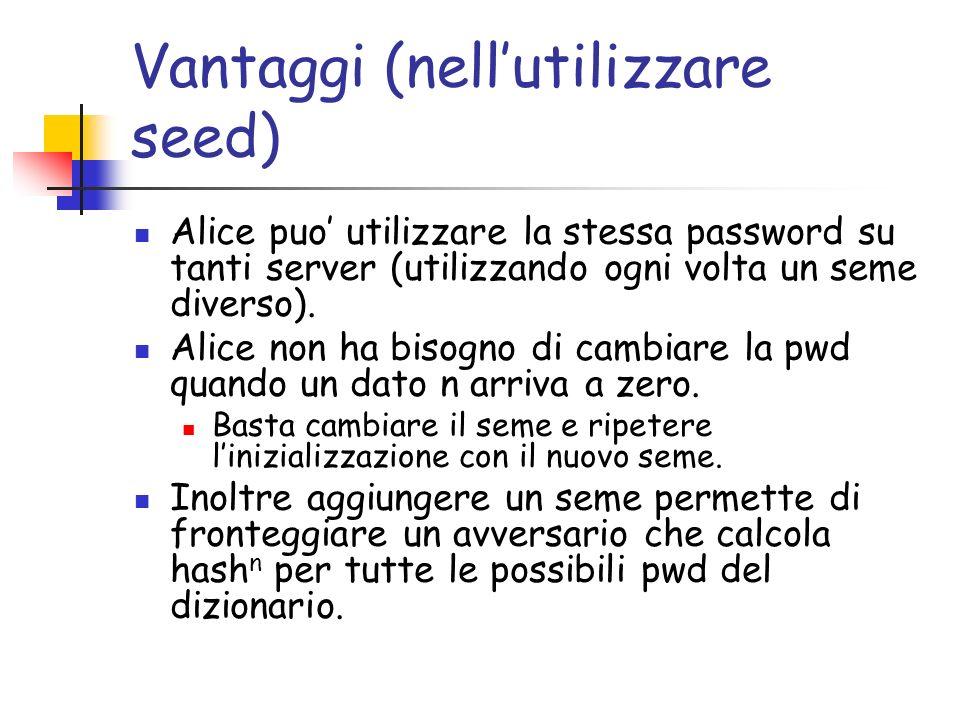Vantaggi (nellutilizzare seed) Alice puo utilizzare la stessa password su tanti server (utilizzando ogni volta un seme diverso). Alice non ha bisogno