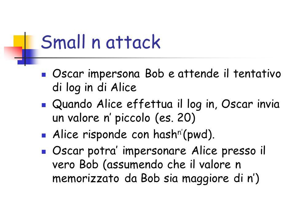 Small n attack Oscar impersona Bob e attende il tentativo di log in di Alice Quando Alice effettua il log in, Oscar invia un valore n piccolo (es. 20)