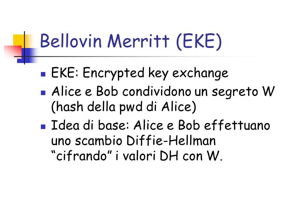 Bellovin Merritt (EKE) EKE: Encrypted key exchange Alice e Bob condividono un segreto W (hash della pwd di Alice) Idea di base: Alice e Bob effettuano