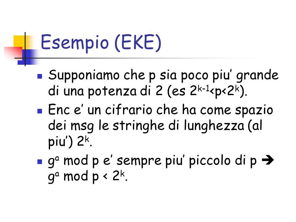 Esempio (EKE) Supponiamo che p sia poco piu grande di una potenza di 2 (es 2 k-1 <p<2 k ). Enc e un cifrario che ha come spazio dei msg le stringhe di