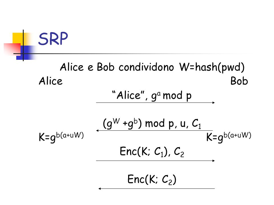 SRP Alice e Bob condividono W=hash(pwd) Alice Bob Alice, g a mod p (g W +g b ) mod p, u, C 1 K=g b(a+uW) Enc(K; C 1 ), C 2 Enc(K; C 2 )