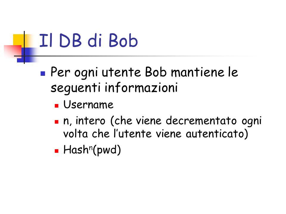 Il DB di Bob Per ogni utente Bob mantiene le seguenti informazioni Username n, intero (che viene decrementato ogni volta che lutente viene autenticato
