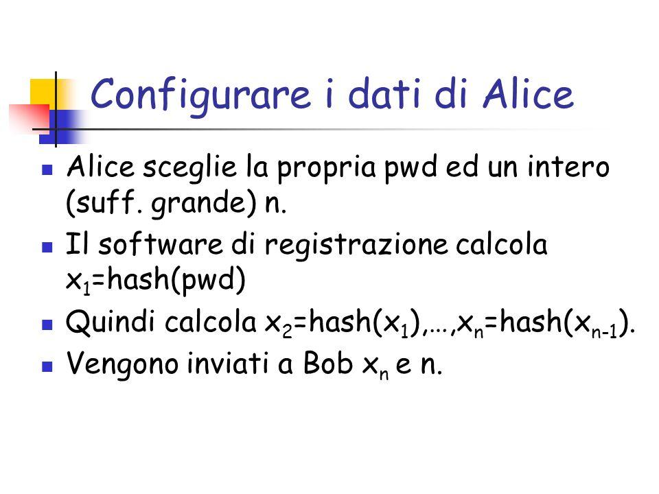 Configurare i dati di Alice Alice sceglie la propria pwd ed un intero (suff. grande) n. Il software di registrazione calcola x 1 =hash(pwd) Quindi cal