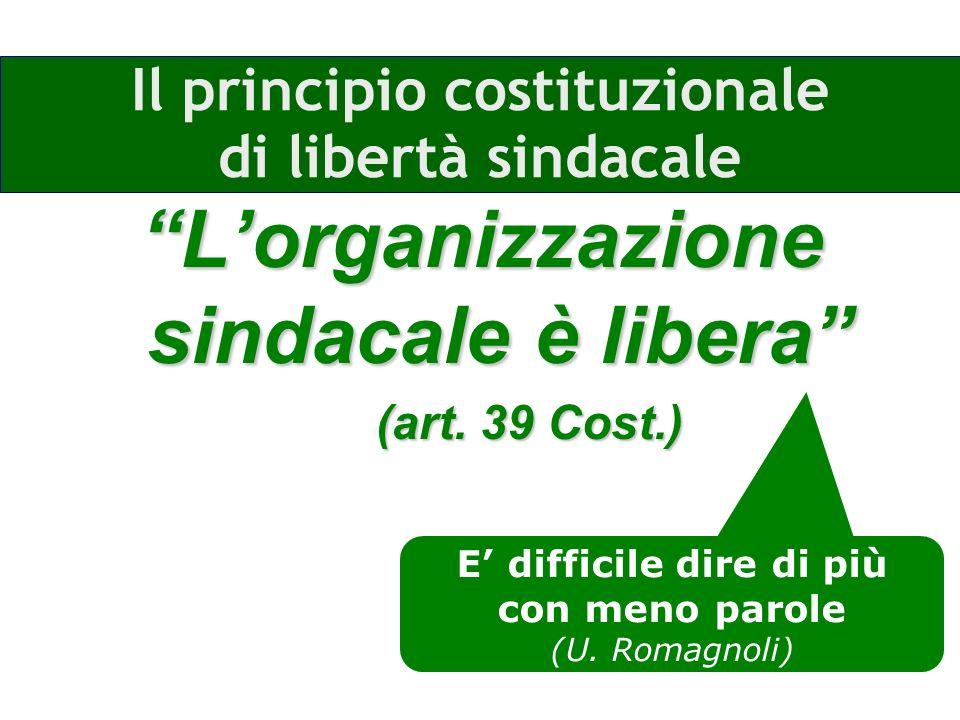 Il principio costituzionale di libertà sindacale Lorganizzazione sindacale èlibera Lorganizzazione sindacale è libera (art.