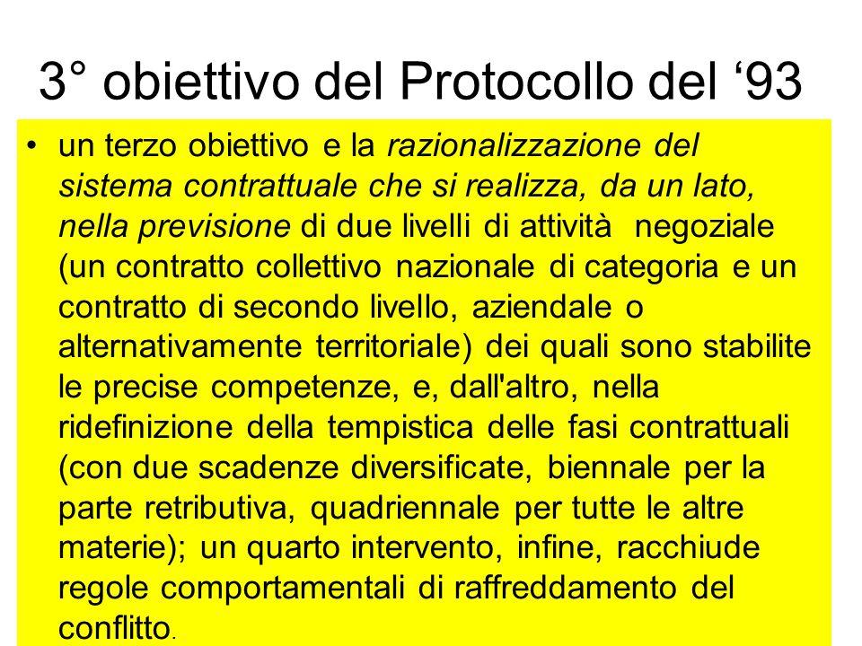 2° obiettivo del Protocollo del 93 un secondo obiettivo e la semplificazione del sistema, decretata con il definitivo abbandono dell'indicizzazione de