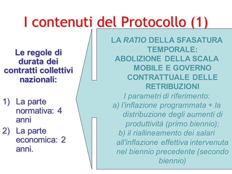 3° obiettivo del Protocollo del 93 un terzo obiettivo e la razionalizzazione del sistema contrattuale che si realizza, da un lato, nella previsione di