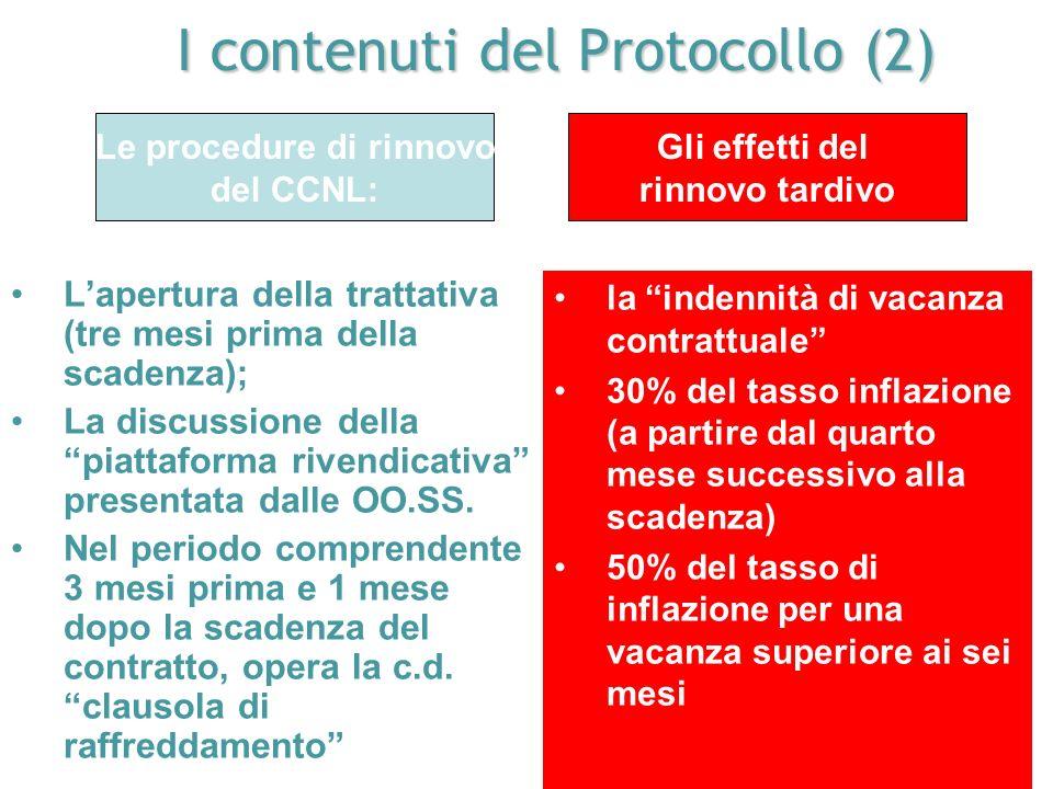 I contenuti del Protocollo (1) Le regole di durata dei contratti collettivi nazionali: 1)La parte normativa: 4 anni 2)La parte economica: 2 anni. LA R