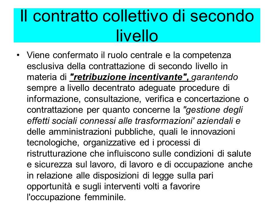 Il contratto collettivo di secondo livello Le parti stipulanti precisano l'oggetto della contrattazione di secondo livello, ribadendo che essa si svol
