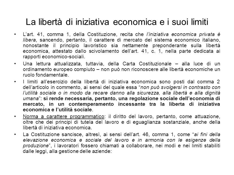 La libertà di iniziativa economica e i suoi limiti Lart.
