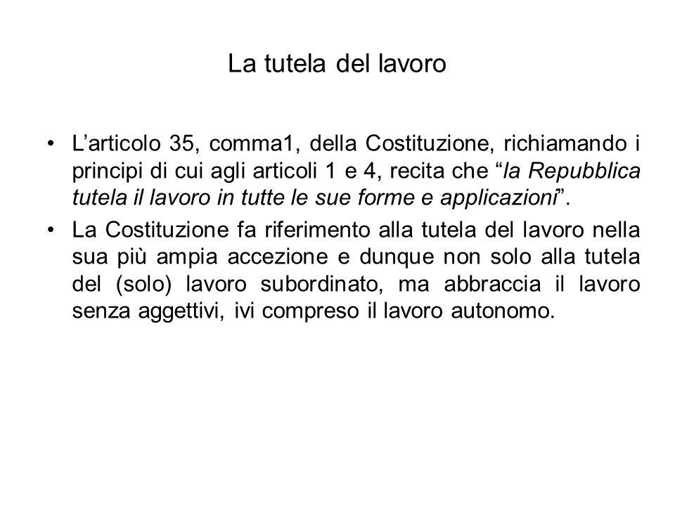 La tutela del lavoro Larticolo 35, comma1, della Costituzione, richiamando i principi di cui agli articoli 1 e 4, recita che la Repubblica tutela il lavoro in tutte le sue forme e applicazioni.