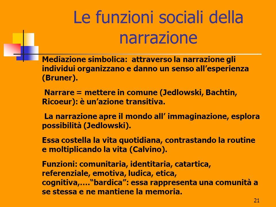 21 Le funzioni sociali della narrazione Mediazione simbolica: attraverso la narrazione gli individui organizzano e danno un senso allesperienza (Brune