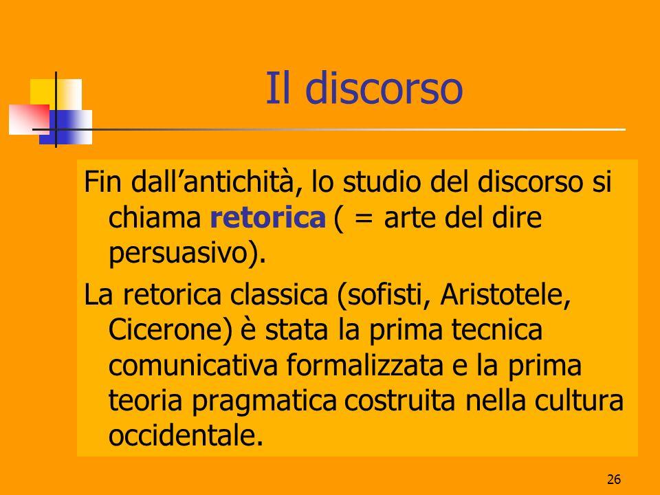 26 Il discorso Fin dallantichità, lo studio del discorso si chiama retorica ( = arte del dire persuasivo). La retorica classica (sofisti, Aristotele,