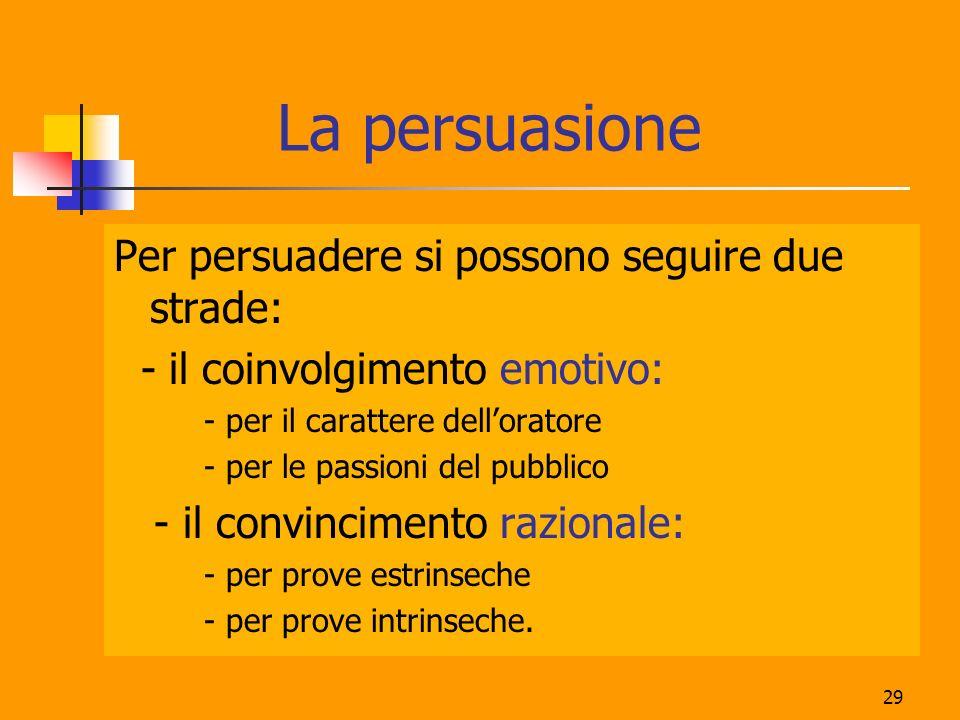 29 La persuasione Per persuadere si possono seguire due strade: - il coinvolgimento emotivo: - per il carattere delloratore - per le passioni del pubb