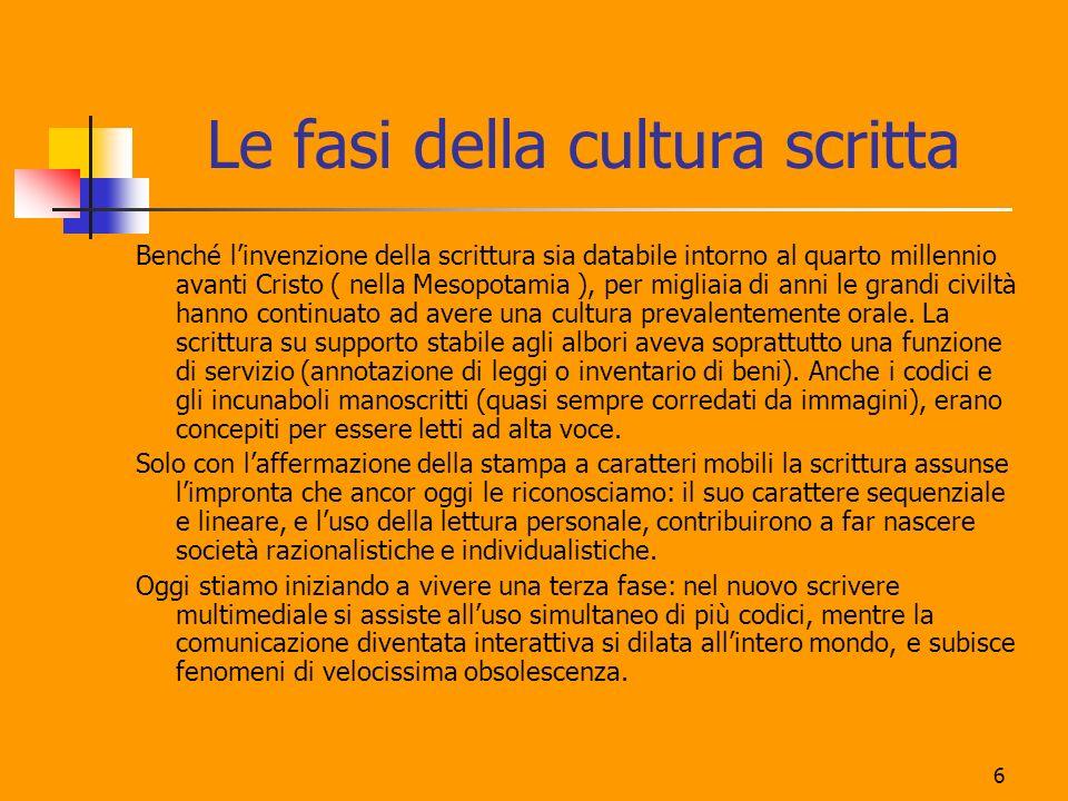 6 Le fasi della cultura scritta Benché linvenzione della scrittura sia databile intorno al quarto millennio avanti Cristo ( nella Mesopotamia ), per m