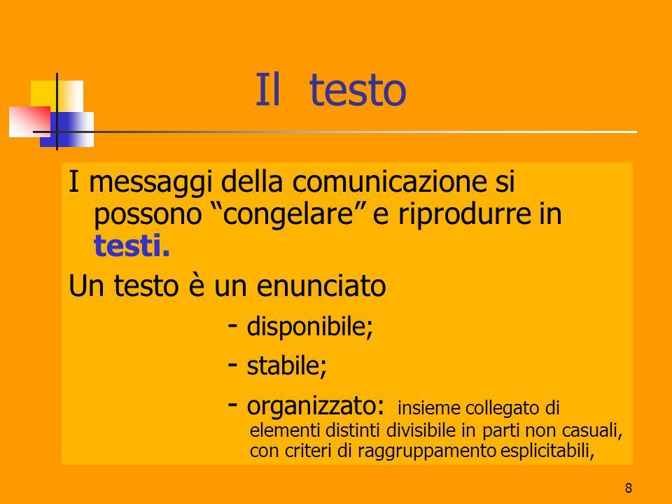 8 Il testo I messaggi della comunicazione si possono congelare e riprodurre in testi. Un testo è un enunciato - disponibile; - stabile; - organizzato: