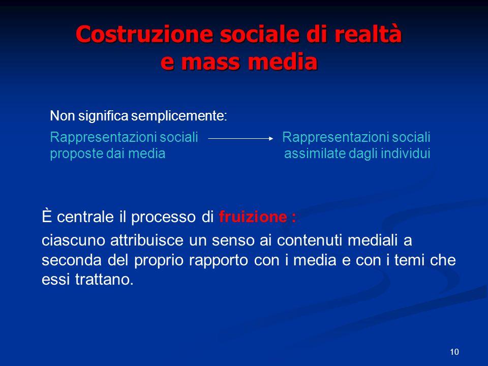 10 Costruzione sociale di realtà e mass media È centrale il processo di fruizione : ciascuno attribuisce un senso ai contenuti mediali a seconda del p