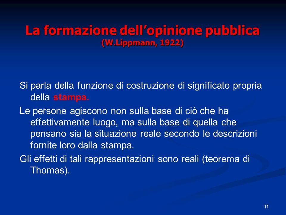 11 La formazione dellopinione pubblica (W.Lippmann, 1922) Si parla della funzione di costruzione di significato propria della stampa. Le persone agisc