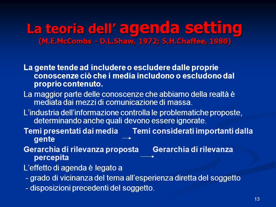 13 La teoria dell agenda setting (M.E.McCombs - D.L.Shaw, 1972; S.H.Chaffee, 1980) La gente tende ad includere o escludere dalle proprie conoscenze ci