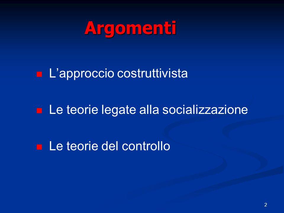 2 Argomenti Lapproccio costruttivista Le teorie legate alla socializzazione Le teorie del controllo